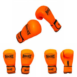 ROCKY Boxing Gloves Sparring Muay Thai Punch Bag Mma Rex Leather Orange 12oz
