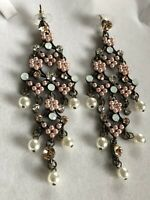 Vintage Faux Pearl Diamanté Drop Earrings Statement Runway
