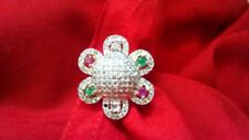 Indian Bridal Bollywood Free Size Ruby Emerald CZ Pink Green Floral Finger Rings