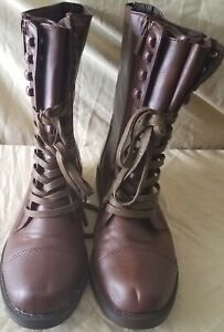 Women's Brown Size 8.5 DOLLHOUSE Lace Up / Zip Up Boots