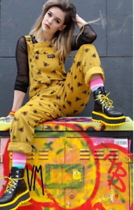 Run & Fly 80's/90's style unisex oversized gold cord bee patterned dungarees