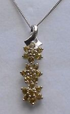 Platinum Overlay 925 Silver Canary Tourmaline Floral Pendant With Chain #36