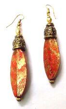 Handmade Painted Wooden Wood Earrings Jhumki Ethnic Chic Boho Drop Long EA300
