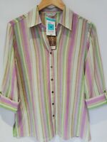 NWT Marks & Spencer Women Ladies 3/4 Sleeve Striped Collared Shirts Size 14 UK