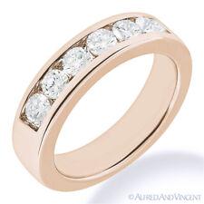 Round Cut Forever Brilliant Moissanite 14k Rose Gold 7-Stone Band Wedding Ring