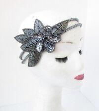 Dark Grey Pearl Sequin Beaded Headband Headpiece 1920s Great Gatsby Flapper 4759