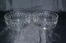 Two Antique Victorian Finger Bowls Cut & Etched Crystal Glass Hand Blown