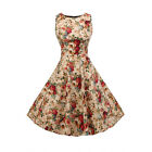 Retro Lady Rockabilly Rose Print Swing 1950s Housewife Pinup Vintage Party Dress