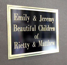 BRASS MEMORIAL PLAQUE GOLD AND BLACK TRADITIONAL DEEP METAL ENGRAVING PETS
