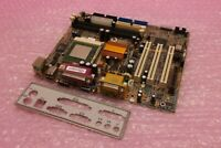 ECS P6IWF Rev 1.0 Socket 370 VGA 3 x PCI System Motherboard with CPU & Backplate