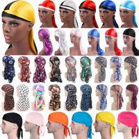 Womens Mens Silky Durags Summer Bandannas Turban Hat Headwear Headband Wrap Cap