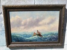 OIL PAINTING Rescue at SEA Joseph A WOODS 1920 FRAMED Lobster Pots Lifeboat Art