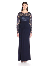 Eliza J Women Long Sleeves Front Gathering Gown EJ7M4503 /Navy /14.