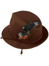 Mens Brown German Bavarian Oktoberfest Hat With Feather