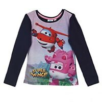 T-Shirt Size 5Y Super Wings Jett Long Sleeve Kids Character Blue Top For Girls