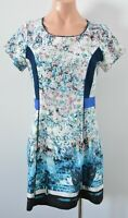 Dotti Dress Size 10 Blue White Pink Floral Shift Exposed Zip