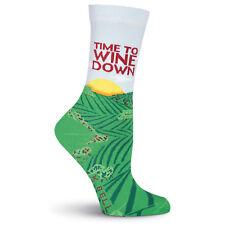 K.Bell Wine Theme Time To Wind Down Socks Cotton Ladies Crew Socks New