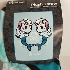 Tokidoki Mermicorno Super Plush Throw Blanket 46 X 60 Unicorn Mermaid Blue New
