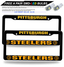 "2pcs - NFL Pittsburgh steelers 12"" x 6"" Plastic License Plate Frame (FREE 2LED)"