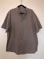 L.L. Bean Gray and Pink Plaid Button Shirt Short Sleeve Men's XL Tall EUC