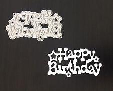 Artesanías Metal Feliz Cumpleaños frase sentimiento DIE Cutter