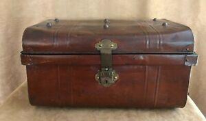 "Industrial Metal Storage Trunk box 22 x 12"" treasure chest steam punk"