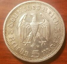 1936 A Nazi Germany 5 Reichsmark silver mark German coin WWII war relic