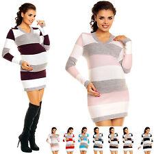 Zeta Ville Women's - Maternity Stripes Knit Jumper Dress Tunic Top V-Neck - 405c