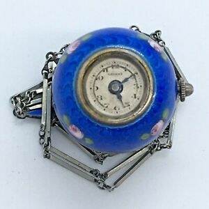 Vintage Antique Lucerne Swiss Blue Enamel  Working Silver Pendent Watch
