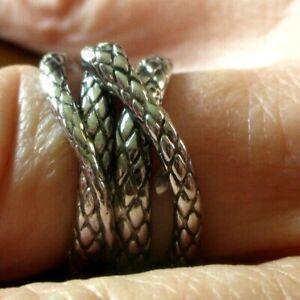 Bague serpent rhodié Argent large Anneaux Créateur Jonc bijou rare taille 57