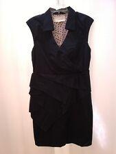 Anthropologie LEIFSDOTTIR  Navy Blue Wrap Style Pleated Dress 10 Medium