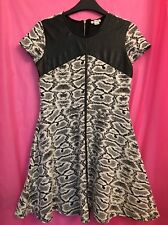 Used Girls Age 11-12 Years Black & White Short Sleeve Dress By River Island