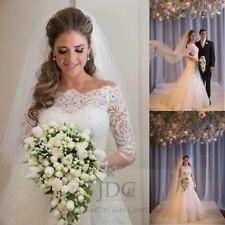 Langarm Brautkleider Mit Carmen Ausschnitt Aus Satin Gunstig Kaufen