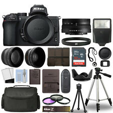 Nikon Z50 Mirrorless Camera Body + 3 Lens Kit 16-50mm Z VR + 32GB + Flash & More