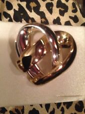 Two Toned Heart Twist Pin Gold Plated/Silvertone New In Gift Box-JCPenney