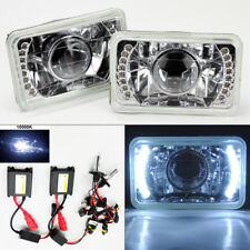 """4X6"""" 10K HID Xenon H4 Projector Clear LED DRL Glass Headlight Conversion Pair"""