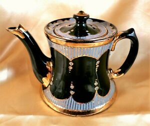 Antique JACKFIELD Teapot VICTORIAN Green VINTAGE Floral HAND DECORATED
