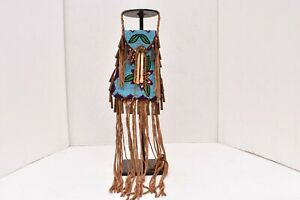 RARE Vintage Sioux beaded Strike-a-lite bag Native American Pouch BLUE