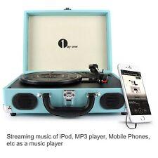 8438c7711f174 1Byone Briefcase Record Player Suitcase Vintage Vinyl Turntable 3 Speed  Speakers