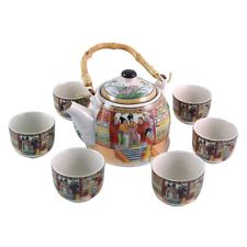 More details for chinese tea set - white ceramic - palace ladies pattern - gift box