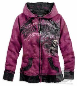 Harley-Davidson Women's LARGE #1 SKULL Crystals Lace Hoodie, cotton tie dye