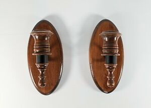 Vintage Set of 2 Wooden Wall Hanging Candle Stick Holders Sconce Colonial MCM