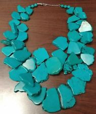 Lucas Lameth Turquoise Chunky Double Strand Statement Necklace LUC Sterling 925