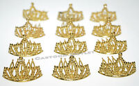 12 GOLD MINI PLASTIC PRINCESS QUEEN TIARA CROWN PARTY FAVORS CUPCAKE TOPPERS