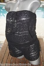 SM~VICTORIA'S SECRET BEACH SWIMSUIT COVER UP STRAPLESS BLACK LACE ROMPER  ~NWT