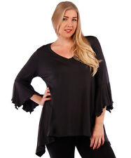 NEW! WOMEN'S PLUS SIZE CLOTHING CHARCOAL BLOUSE WITH BELL SLEEVE DESIGN 6X