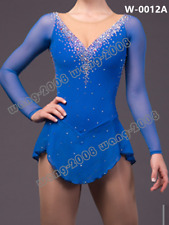 Girl Competition Figure skating Dress Ice Skating Dress Costume Sparkle Blue
