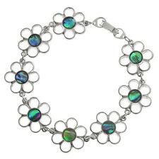 "Daisy Bracelet Paua Abalone Shell Womens Silver Fashion Jewellery 7.5"""