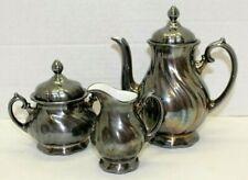 Vintage WMF Silver Plated On Porcelain 5 Piece Coffee Tea Set Creamer Sugar