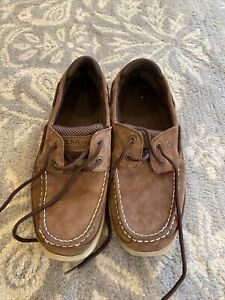 Sperry brown top sider Size 7M Lanyard style tan brown Boys Men